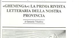 """Gerardo Trisolino, «""""Gheminga"""": la prima rivista letteraria della nostra provincia»"""