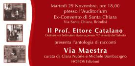 VIA MAESTRA, presentazione a Brindisi il 29 novembre