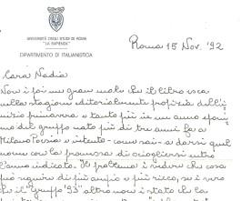 """Filippo Bettini, su """"Terza ondata"""", lettera del 15.11.1992"""