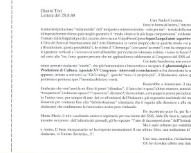 Gianni Toti  sul Sindacato Nazionale Scrittori, lettera del 1988