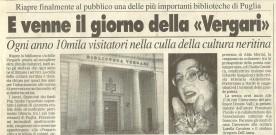 Per l'inaugurazione della biblioteca Vergari di Nardò, 9.12.2000