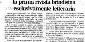 """""""Per la cultura, ecco Gheminga, la prima rivista brindisina esclusivamente letteraria"""", «Quotidiano», febbraio 1988"""