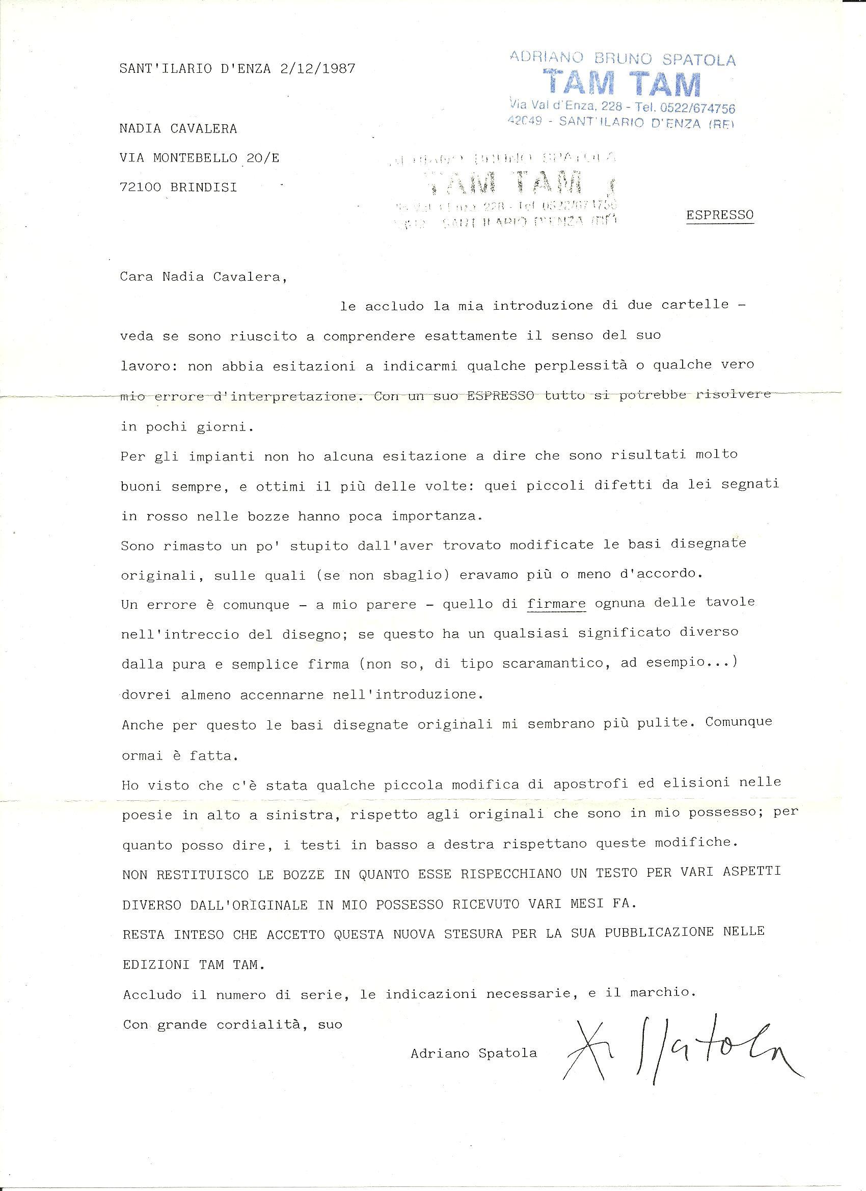 Adriano Spatola_lettera