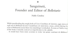"Sanguineti, Founder and Editor of ""Bollettario"""