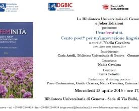 Umafeminità, Genova, Biblioteca Universitaria, 15 aprile
